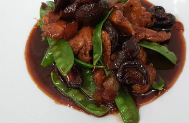 Pollo en salsa oriental con verduras orgánicas